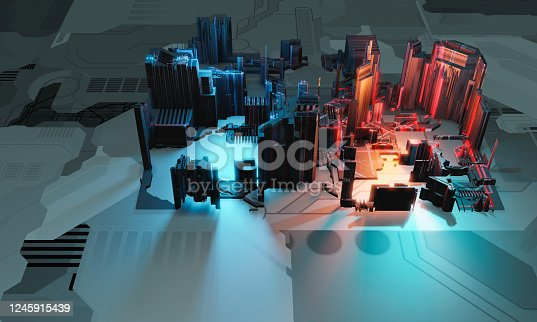 1190871157 istock photo Industry 4.0. Abstract colorful machine, building isometric block in blue and red color on textured grey background. 3D illustration 1245915439