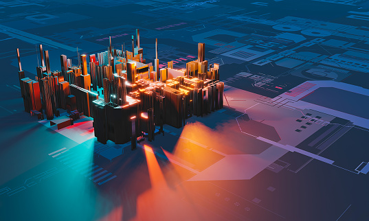 istock Industry 4.0. Abstract colorful machine, building isometric block on textured background. 3D illustration 1190772011