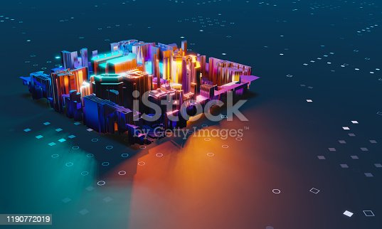 istock Industry 4.0. Abstract colorful machine, building isometric block on dotted background. 3D illustration 1190772019