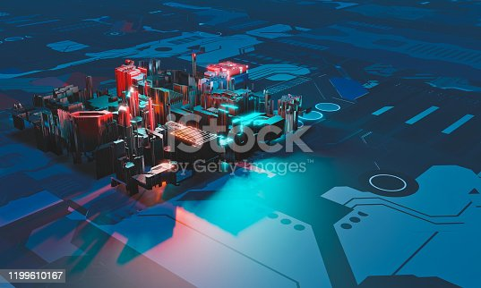 Industry 4.0. Abstract colorful machine, building isometric block on blue textured background. 3D illustration.
