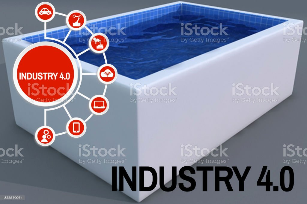 Industry 4.0 concept 3D basin model stock photo