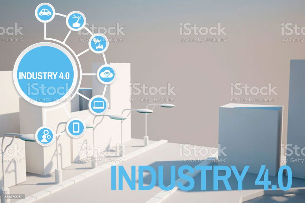 Industry 4.0 concept 3D city model stock photo