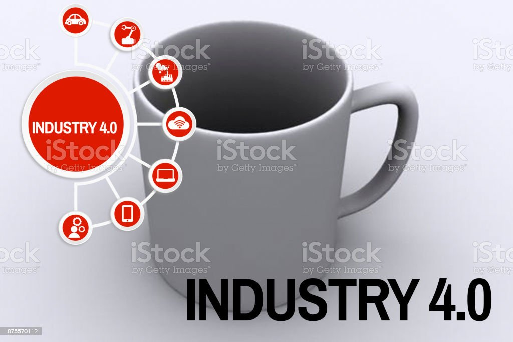 Industry 4.0 concept 3D shaped cup stock photo