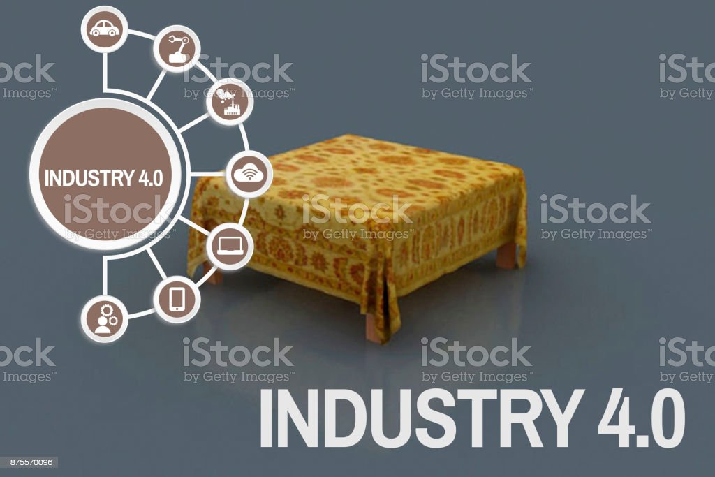 Industry 4.0 concept 3D shaped dining table stock photo