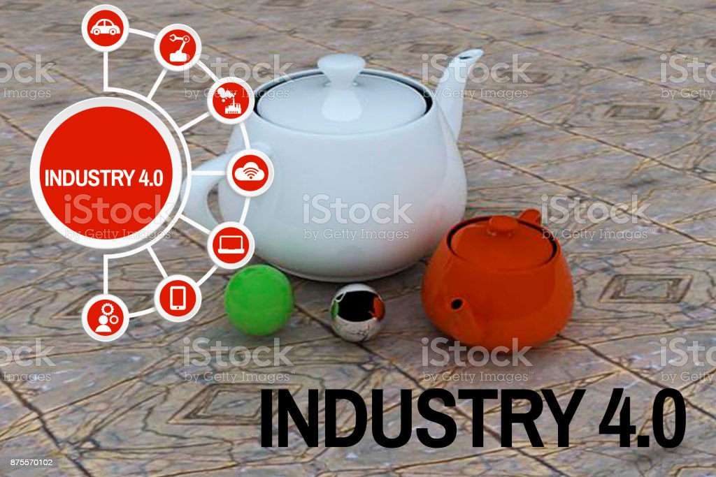 Industry 4.0 concept 3D shaped teapot stock photo
