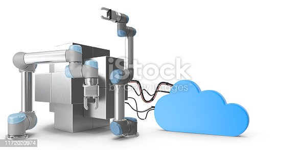 1167121815 istock photo Industry 4.0 concept. Cloud connected high tech robotic arms and steel block. 1172020974
