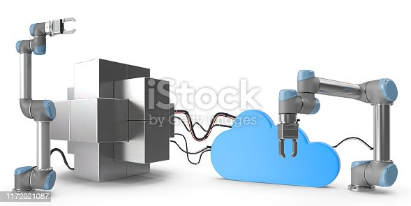 1167121815 istock photo Industry 4.0 concept. Cloud connected high tech robotic arms and steel block. 1172021087