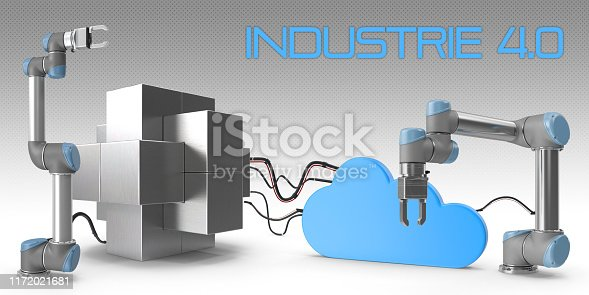 1167121815 istock photo Industry 4.0 concept. Cloud connected high tech robotic arms and steel block with Industy 4.0 french or german text. 1172021681