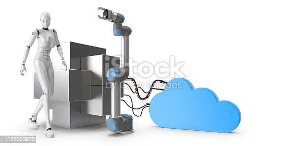 1167121815 istock photo Industry 4.0 concept. Female look cyborg and robotic arm. 1172020973