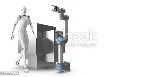1167121815 istock photo Industry 4.0 concept. Female look cyborg and robotic arm. 1172020991
