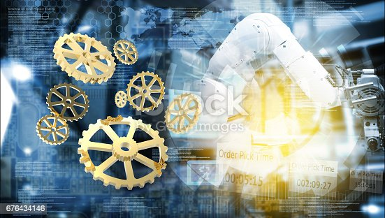 676364668 istock photo Industry 4.0 concept. Gears ,abstract of automate wireless Robot arm in smart factory and technology graphic background , 3d rendering 676434146