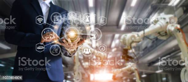 Industry 40 concept icon flow automation and data exchange in picture id1022854924?b=1&k=6&m=1022854924&s=612x612&h=2mspbn66pm6anwmku oepemqhfbzfhprmei l 3scea=