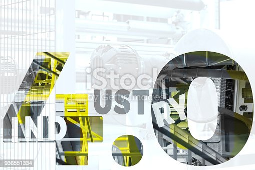 973144806 istock photo Industry 4.0 concept. Number 4 and gear texts and blue tone  in smart factory. 936551334
