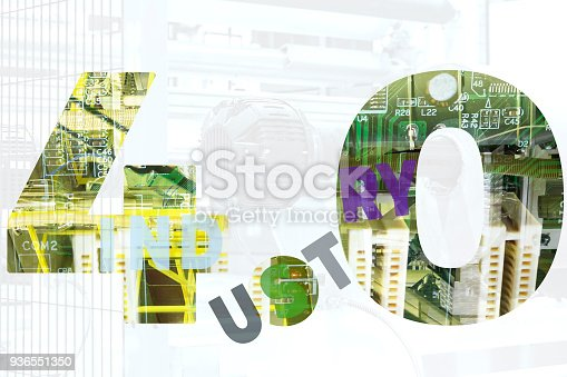 973144806 istock photo Industry 4.0 concept. Number 4 and gear texts and blue tone  in smart factory. 936551350