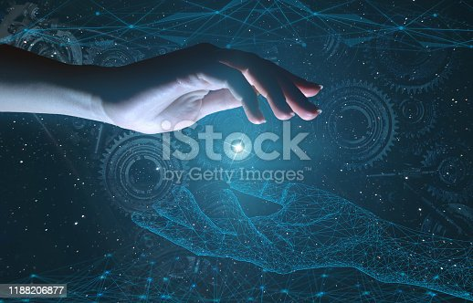 istock Industry 4.0 concept of using artificial intelligence to increase productivity. Business growth through modern technology 1188206877