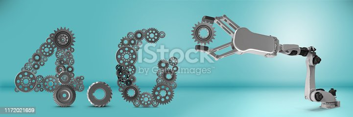 1167121815 istock photo Industry 4.0 concept. Robotic arm is completing 4.0 text. 1172021659