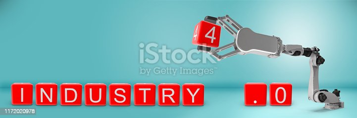 1167121815 istock photo Industry 4.0 concept. Robotic arm is completing Industry 4.0 text. 1172020978