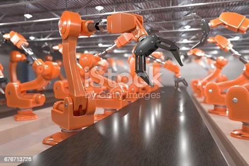 istock Industry 4.0 concept. Robotic arms in factory. 3D rendered illustration. 676713728