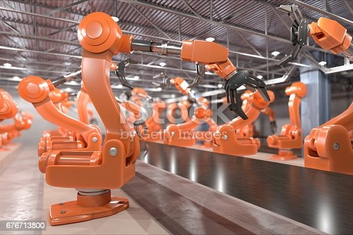 istock Industry 4.0 concept. Robotic arms in factory. 3D rendered illustration. 676713800