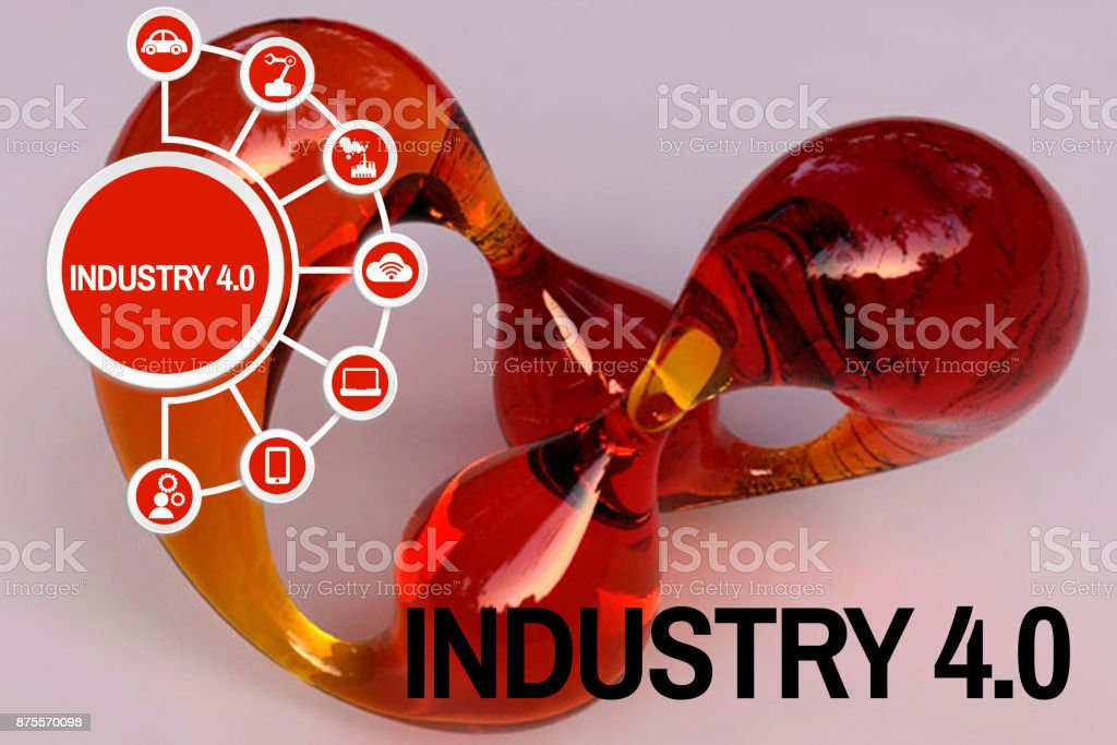 Industry 4.0 concept Shaped clear glass orange red stock photo
