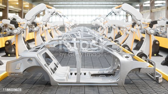 1069360792 istock photo Industry 4.0 - Industrial Robots At The Automatic Car Manufacturing Factory Assembly Line 1188009623