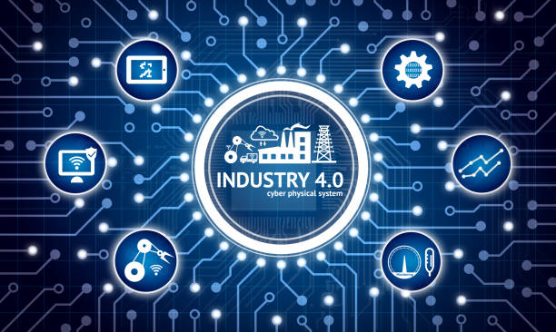 Industry 4.0 internet of things concept . Electric circuit graphic and infographic of Augmented reality screen software , automate wireless Robot arm , smart factory icons – Foto