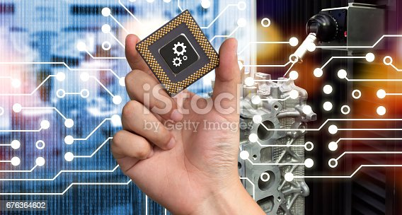 676364668 istock photo Industry 4.0 , Machine learning and artificial intelligence concept. Man suit hand holding Ai chipsets and blue tone of automate wireless Robot arm in smart factory background with flare light effect 676364602