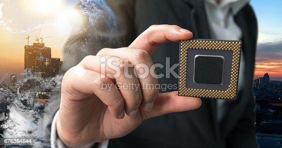 istock Industry 4.0 , Machine learning and artificial intelligence concept. Man suit hand holding Ai chipsets and 3d rendering gears with flare light effect 676364644