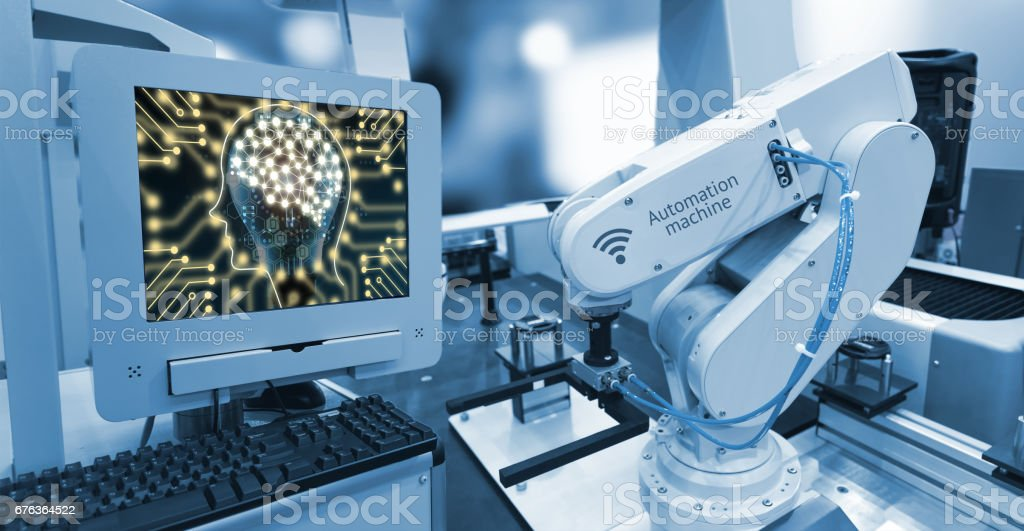 Industry 4.0 , Machine learning and artificial intelligence concept. Computer display illustrative screen and blue tone of automate wireless Robot arm in smart factory background stock photo