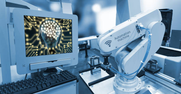 industry 4.0 , machine learning and artificial intelligence concept. computer display illustrative screen and blue tone of automate wireless robot arm in smart factory background - computer aided manufacturing stock photos and pictures