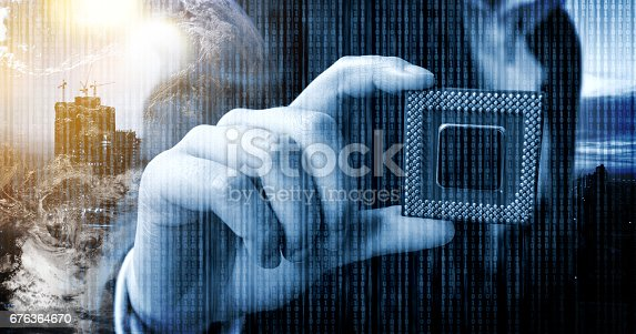676364668 istock photo Industry 4.0 , Machine learning and artificial intelligence Technology concept. Man suit hand holding Ai chipsets and blue tone of binary coded . flare light effect 676364670