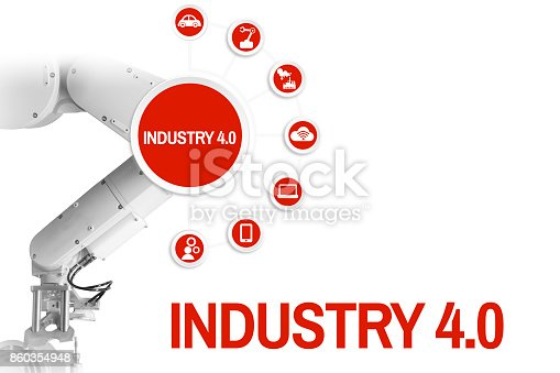 istock Industry 4.0 Management  by a robot arm are red 860354948