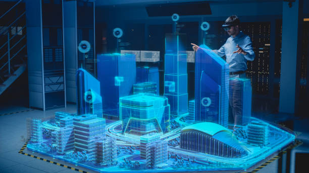 Industry 4.0: Modern Professional Architect Wearing Virtual Reality Headset Uses Gestures to Design, Manipulate Buildings for 3D City. Mixed Augmented Reality Software. VFX Graphics Effect stock photo