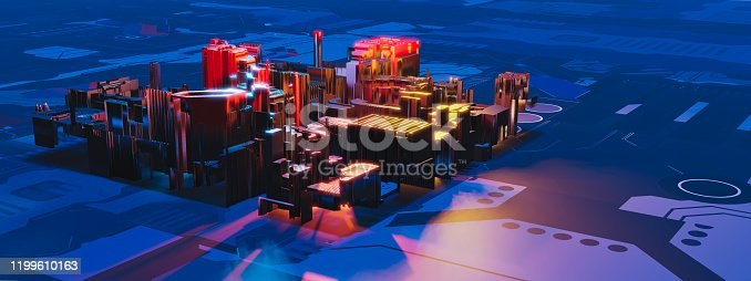 1190871157 istock photo Industry 4.0. Pamoramic view to abstract colorful machine, building isometric block on textured background. 3D illustration 1199610163