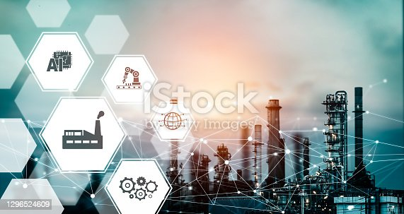 istock Industry 4.0 technology concept - Smart factory for fourth industrial revolution 1296524609