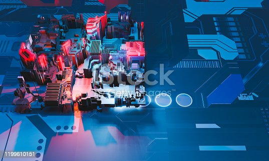 1190871157 istock photo Industry 4.0. Top view to abstract colorful machine, building isometric block on textured background. 3D illustration 1199610151