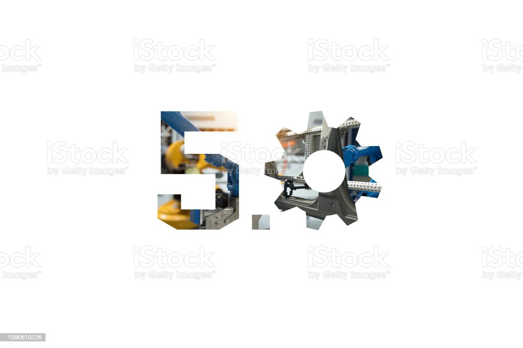 Industry 5.0 concept . Number 5 and gear texts and automate wireless Robot arm in smart factory with white background stock photo