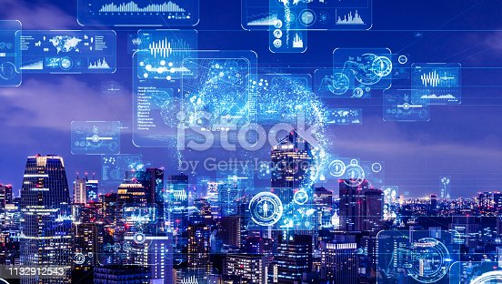 istock Industry and data analytics concept. GUI (Graphical User Interface). 1132912543