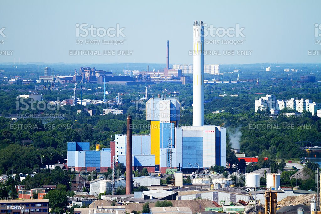 Industry and power station in Oberhausen and Duisburg stock photo