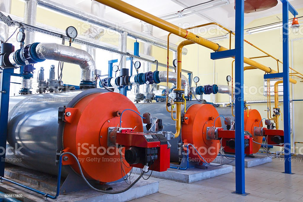 Industry boiler gas burner stock photo