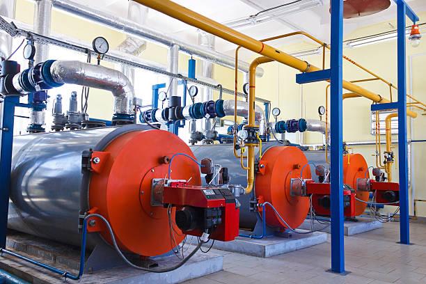 Industry boiler gas burner stock photo