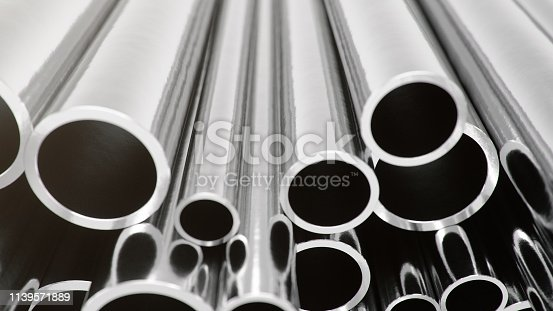 istock Industry business production and heavy metallurgical industrial products, many shiny steel pipes, industrial background, manufacturing business production concept, 3D illustration 1139571889