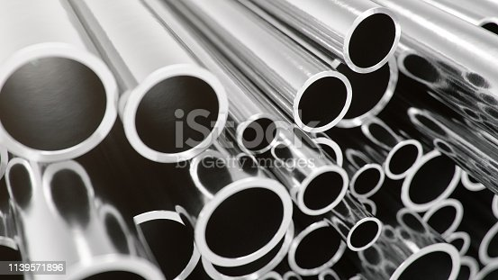 istock Industry business production and heavy metallurgical industrial products, many shiny steel pipes, industrial background, manufacturing business production concept, 3D illustration 1139571896