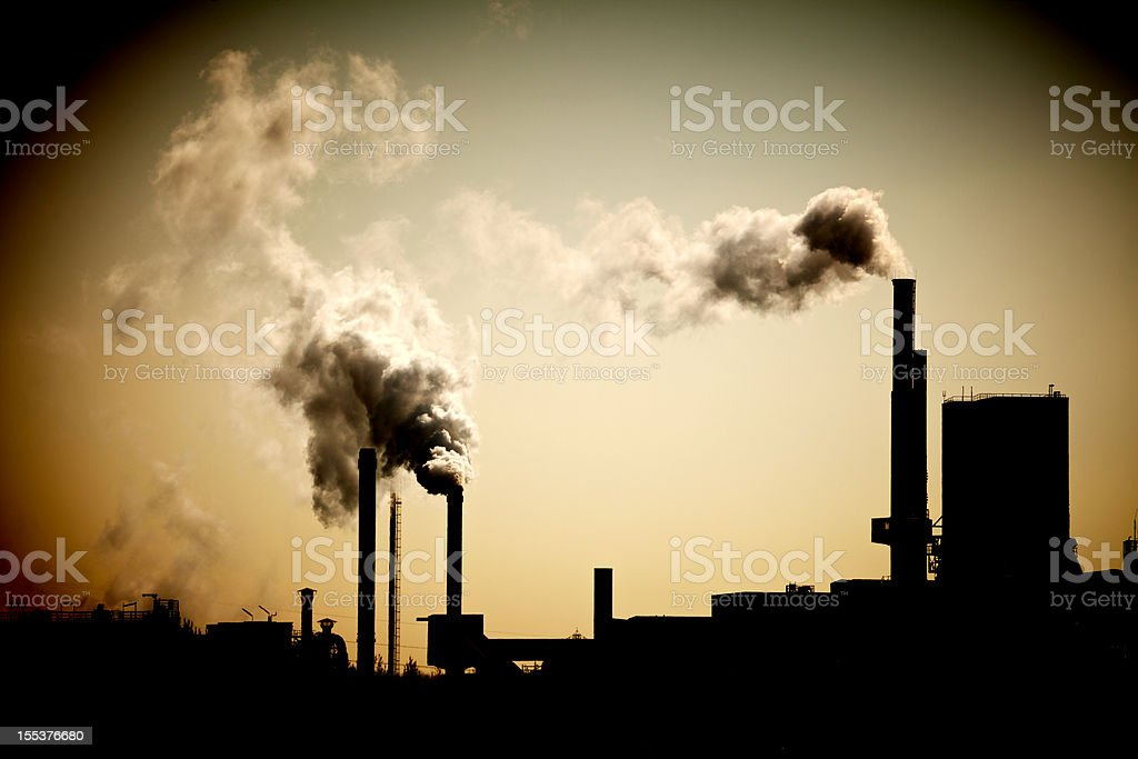 Industry chimney and exhaust fumes stock photo
