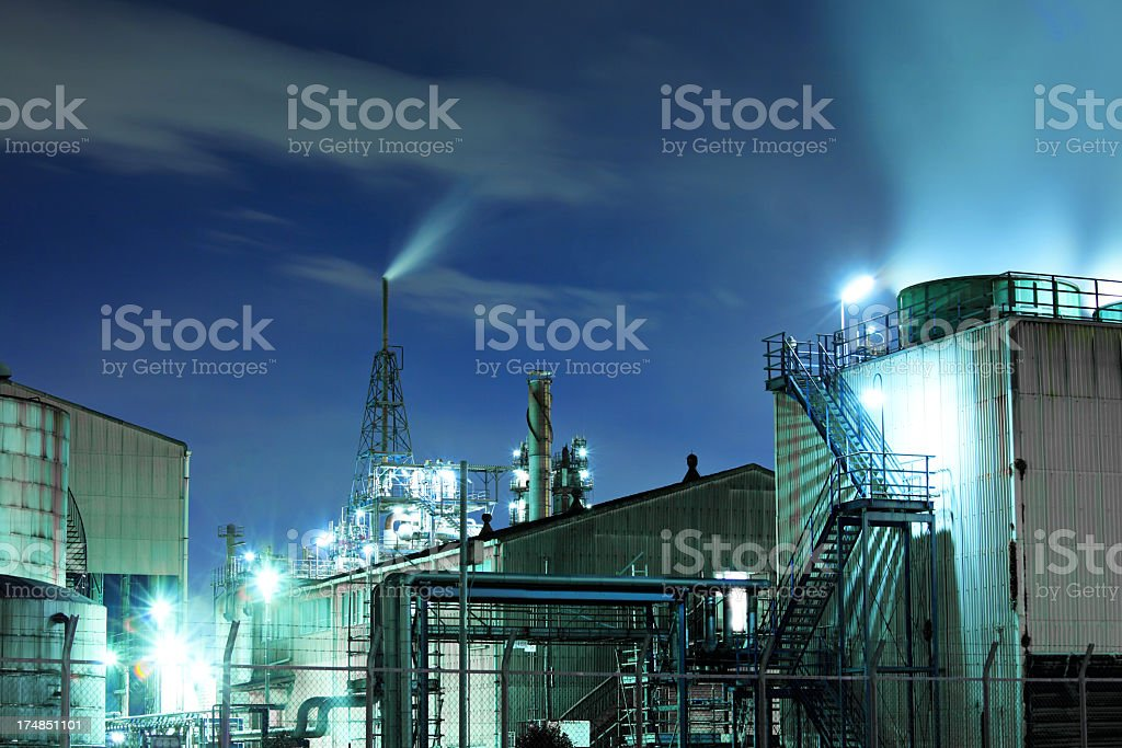 industry complex at night royalty-free stock photo