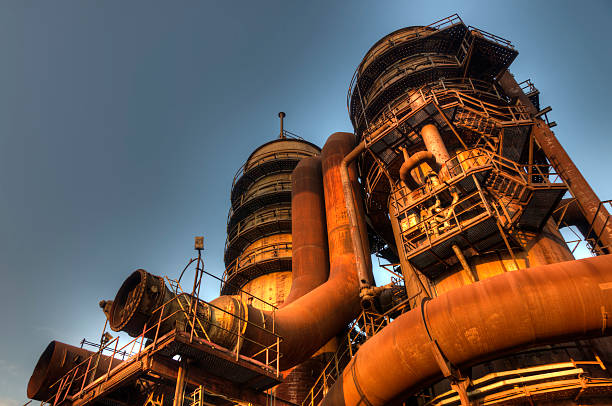 industry for manufacturing of pig-iron, ostrava, czech republic - mahroch stock pictures, royalty-free photos & images