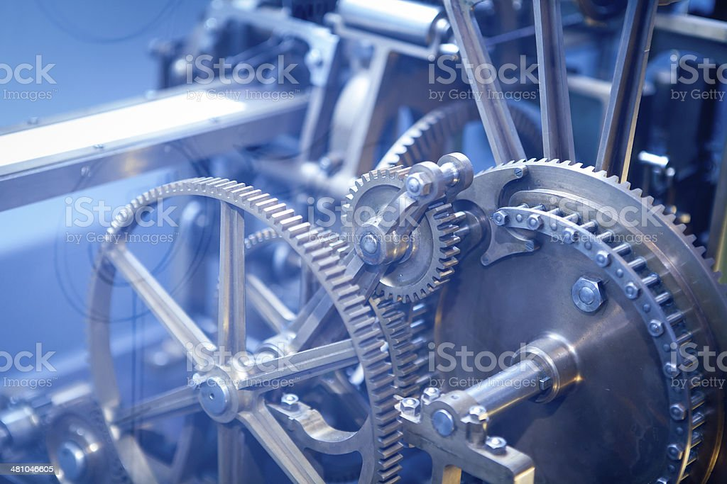 Industry Gear Machine Cog, business cooperation, teamwork and time concept stock photo