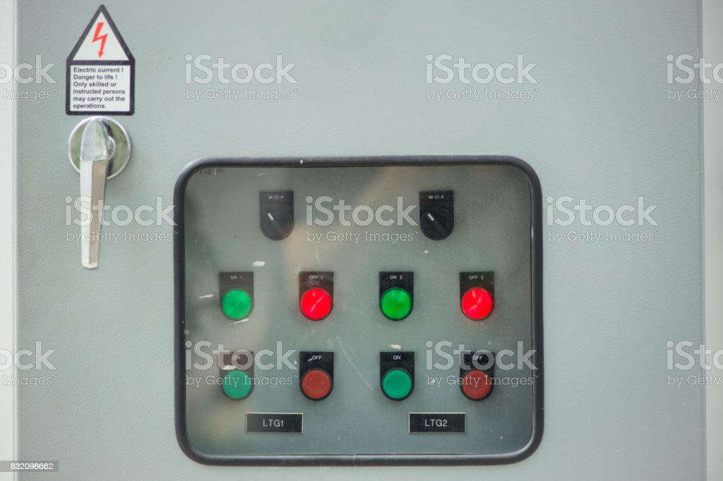 industry main electricity switch control box with light button stock photo