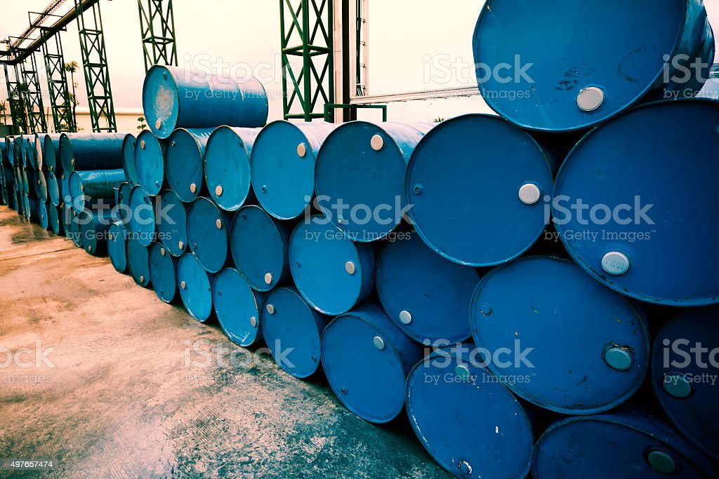 Industry oil barrels or chemical drums stock photo