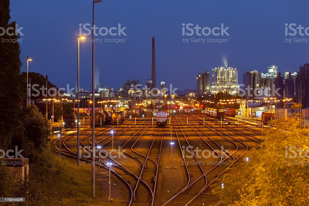 Industry Railroad Yard At Night stock photo